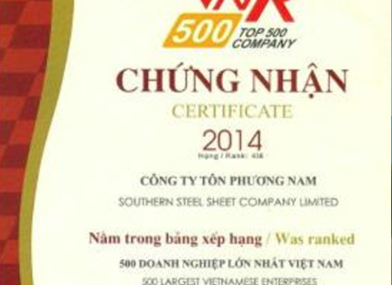 Công ty Tôn Phương Nam nằm trong TOP 500 doanh nghiệp lớn nhất Việt Nam năm 2014